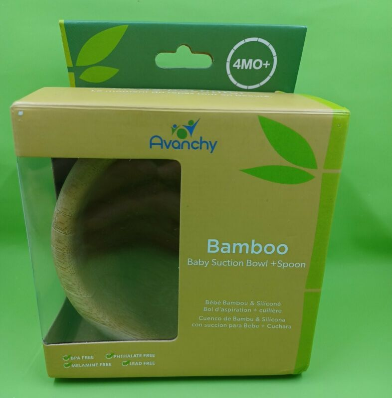 Avanchy Baby Feeding Bamboo Spill Proof Stay Put Suction Bowl * No Spoon*