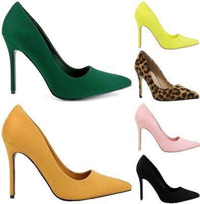 High Heel Pointed Stiletto (Kali-01 Women Pointed Pointy Toe Stiletto High Heel Slip On Suede Pumps )