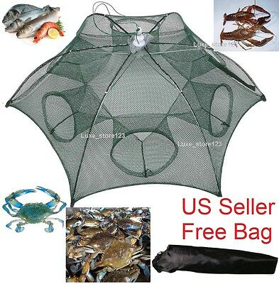 Fishing Bait Foldable Crab Net Trap Cast Dip Cage Fish Minnow Crawfish Shrimp