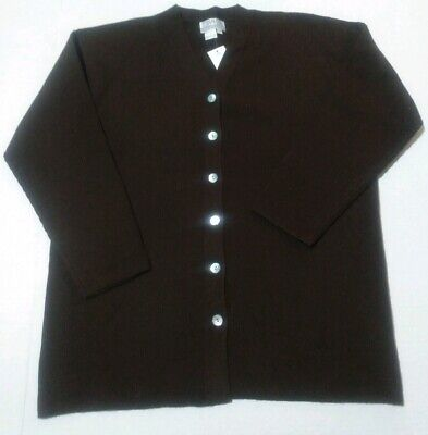 Tanner Nwt Chocolate Brown Large Merino Wool Knit Cardigan Pearlescent Buttons Chocolate Brown Cardigan