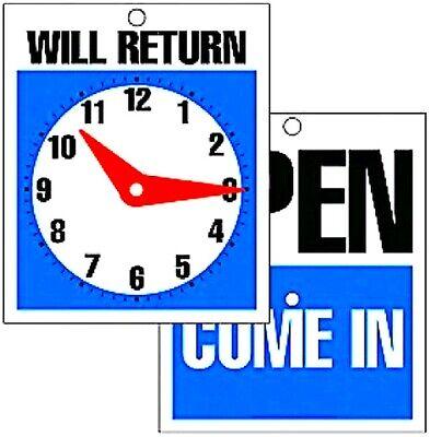 Plastic Sign Open Come In Closed Will Return 6x5 Adjustable Clock Door Window