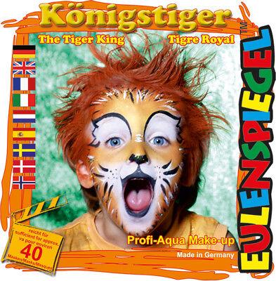 Eulenspiegel Motiv-Set Königstiger, Schmink-Set mit Schmink-Anleitung, 1 Pinsel