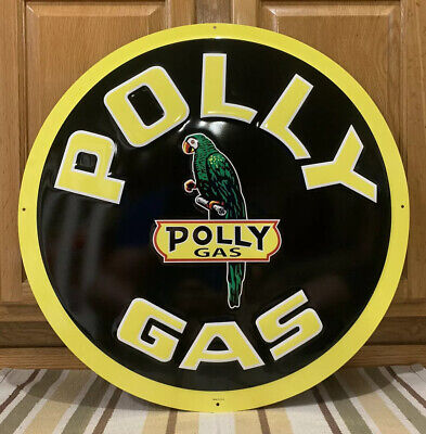 Polly Gas Metal Sign Garage Vintage Style Wall Decor Bar Pub Motor Oil Parrot