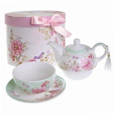 Porzellan-Set für eine Person - mit Teekanne, Tasse und Untertasse - im... Eine Teekanne Set