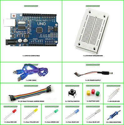 Arduino UNO R3 Starter Kit K Compatible Microcontroller ATMEGA328P Breadboard US on Rummage