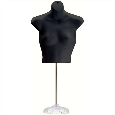 New Female Torso Mannequin Form - Black W Acrylic Base