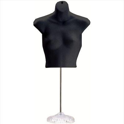 New Female Torso Mannequin Form - Black W Acrylic Base