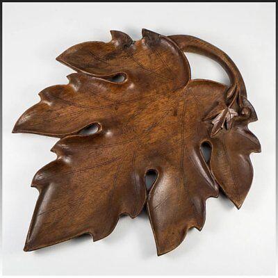 Antique Carved Wood Black Forest Serving Tray, 11