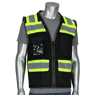 Pip Reflective Mesh Surveyor Safety Vest With Pockets Black