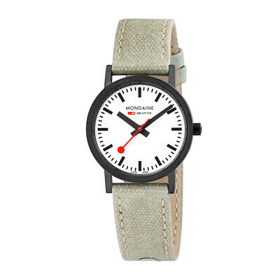 Mondaine A658.30323.61SBG Womens SBB 30mm Stainless Steel and Beige Canvas Watch