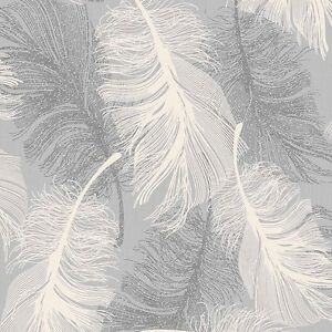 Dappled grey feather wallpaper white and silver glitter by - Papel pintado blanco y plata ...