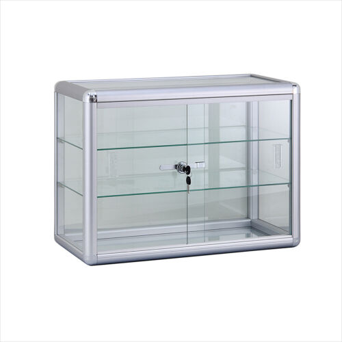 "24"" COUNTER TOP GLASS SHOWCASE WITH GLASS SHELVES - F-1301"