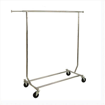 Collapsible Single Bar Rolling Garment Rack Clothing Display - Rcs1