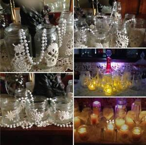 10 Glass Jars Wedding Vases Lace Rustic Boho Wedding Table Decor