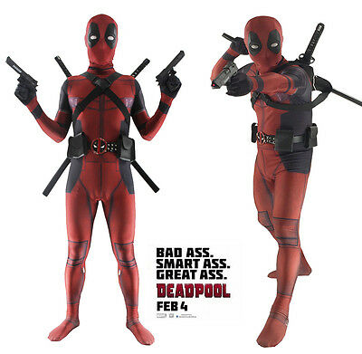 NEW ARRIVAL Deadpool Cosplay Costume Jumpsuits Bodysuit with Accessories