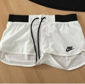 White & black nike shorts