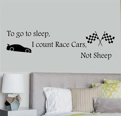 To Go To Sleep I Count Race Cars Not Sheep Wall Decal Kids Room Removable Indoor