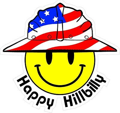 3 - Happy Hillbilly Smiley Usa Hardhat Oilfield Helmet Toolbox Sticker H856