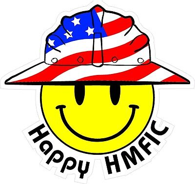 3 - Happy Hmfic Smiley Usa Hardhat Oilfield Helmet Toolbox Sticker H855
