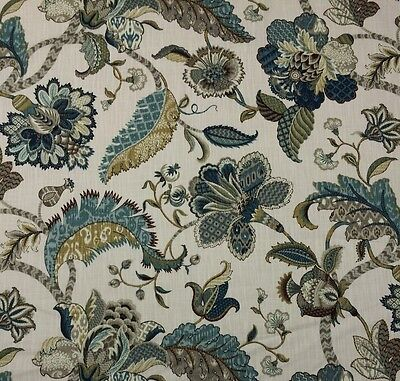 Ballard Designs Courtney Peacock Blue Jacobean Floral Fabric By The Yard 54 W