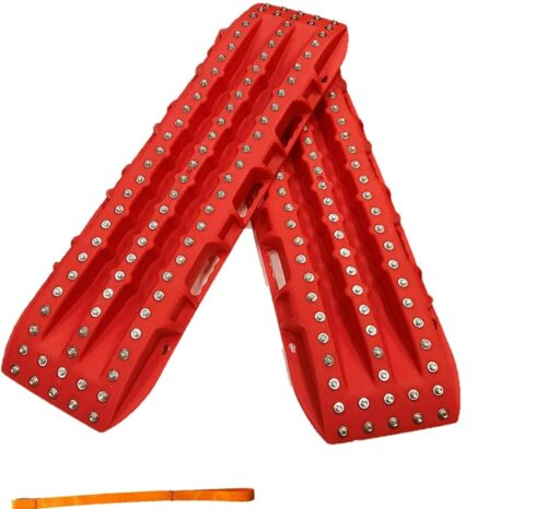 Great Off-Road Traction Boards Steel Studded in Red *Boards ONLY*
