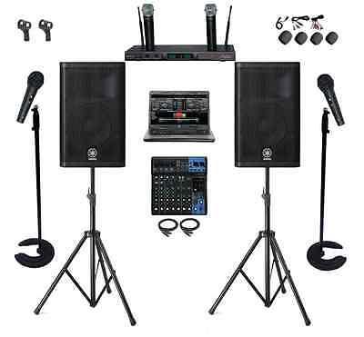 PROFESSIONAL DJ KARAOKE SYSTEM 1TB LAPTOP YAMAHA MIXER DXR12 SPEAKERS CHURCH PA  for sale  Cleveland