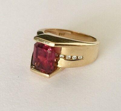 Fdj Natural (14K FDJ YELLOW GOLD LADIES NATURAL PURPLE-PINK UMBALITE GARNET DIAMOND RING  )