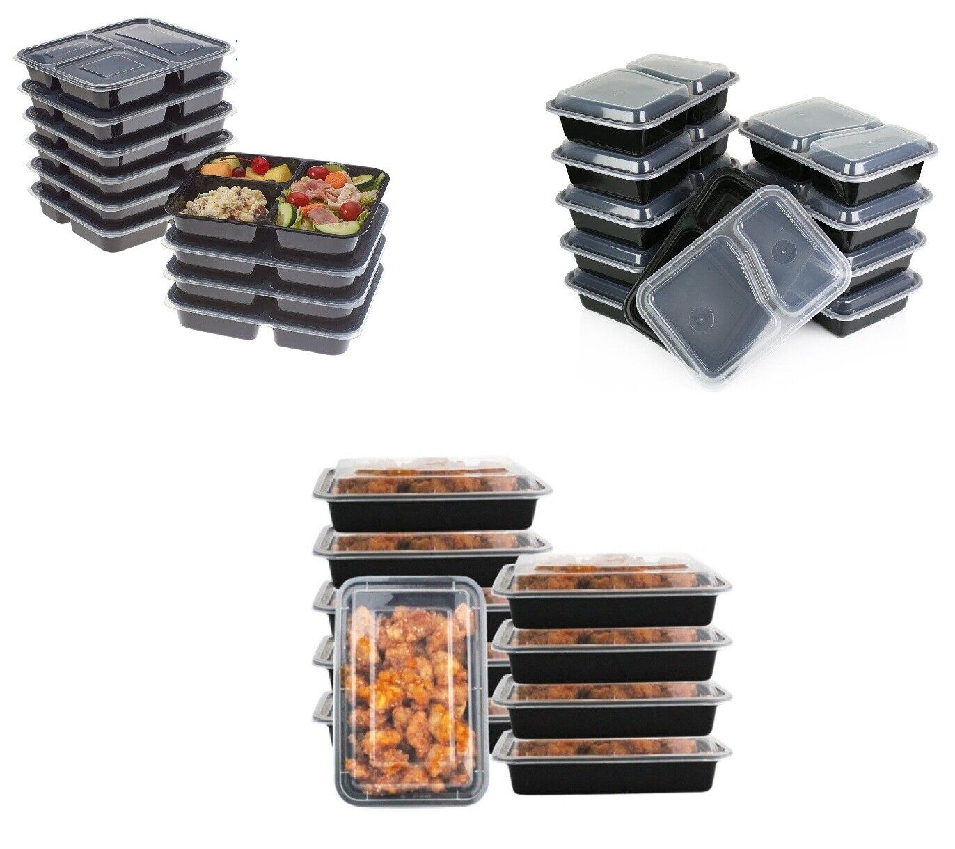 Pack Of 10 1 2 3 Compartments Plastic Lunch Box Food Storage Meal Prep Container Ebay