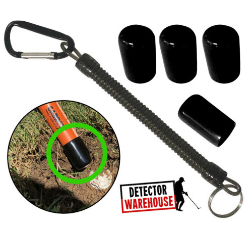 4 BLACK Pinpointer Cap Tip Protector with Lanyard - Fits Garrett Propointer AT