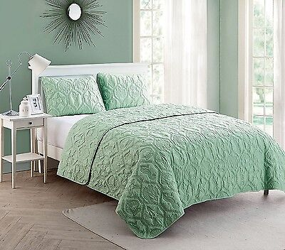 Quilt Set Queen Green Comforter Bedding Cover Beach Ocean Seashell Starfish - Green Queen Quilt Set