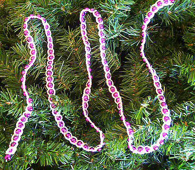 Crochet White on Pink Beaded Christmas Garland 4' (Crochet Halloween Garland)