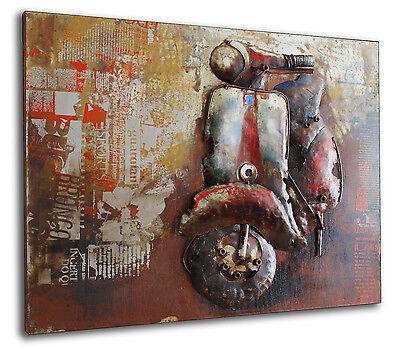 Scooter Metallbild 3D Motorroller Wandbild Vespa Retro Metall Bild Vintage 376