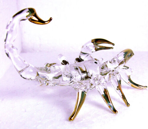 clear glass SCORPION figurine hand blown art glass Gild 2 1/8 Inches - GIFT