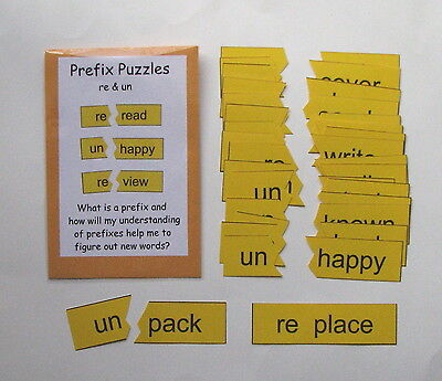 Teacher Made Literacy Center Learning Resource Game Prefix Puzzles re & - Prefix Game