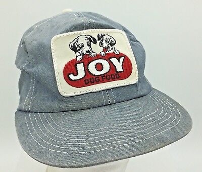 Vtg Joy Dog Food Sewn Patch Front Denim K Products Made in USA Snapback Hat Cap