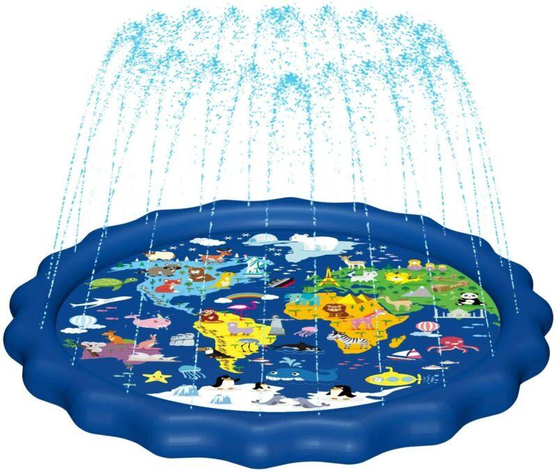 "Splash Pad,Sprinkler for Kids&Baby Pool 3-in-1 67"" Toddler Splash Play Mat(Map)"