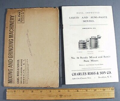 1912 CHARLES ROSS & SON CO. LIQUID & SEMI-PASTE MIXERS CIRCULAR 6-A