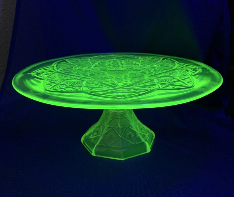 """Green Yellow Vaseline Glass Footed Pedestal Cake Plate Stand 12"""""""
