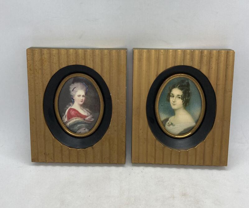 2 Antique Vintage Cameo Creation Victorian Lady Print Plastic Photo Frames