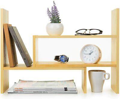 Adjustable Natural Wood Desktop Storage Organizer Display Shelf Rack Beige