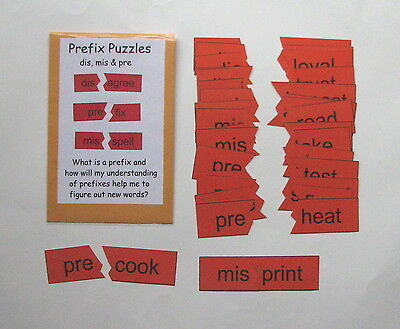 Teacher Made Literacy Center Learning Resource Game Prefix Puzzles dis, mis, - Prefix Game