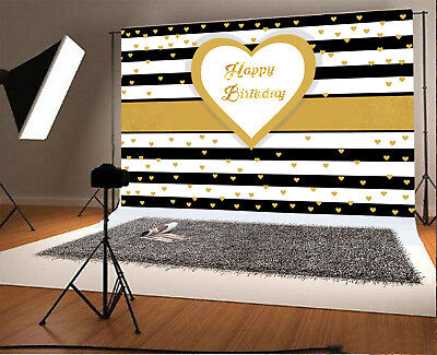 6x4' Background Photo Studio Happy Birthday Black White Stripes Backdrop Props