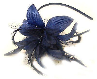 Azul Marino Tocado de Flor En un Negro Diadema, Bodas, Carreras, Graduación