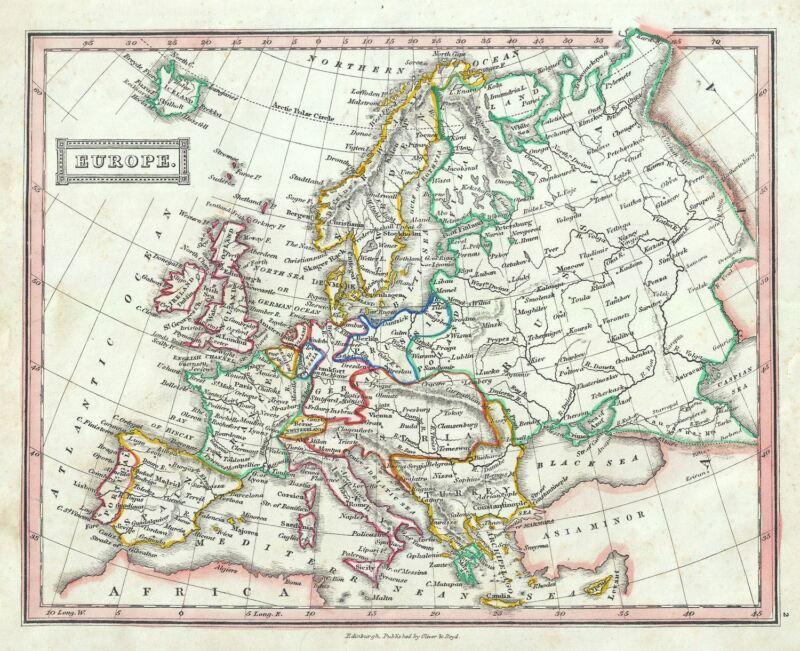 1845 Ewing Map of Europe
