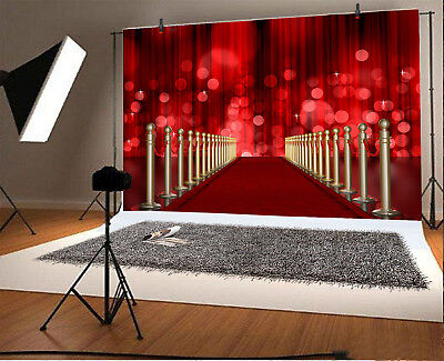 7x5ft Red Carpet Gold Rope Barriers Prop Backdrop Studio Photography Background - Red Carpet Ropes