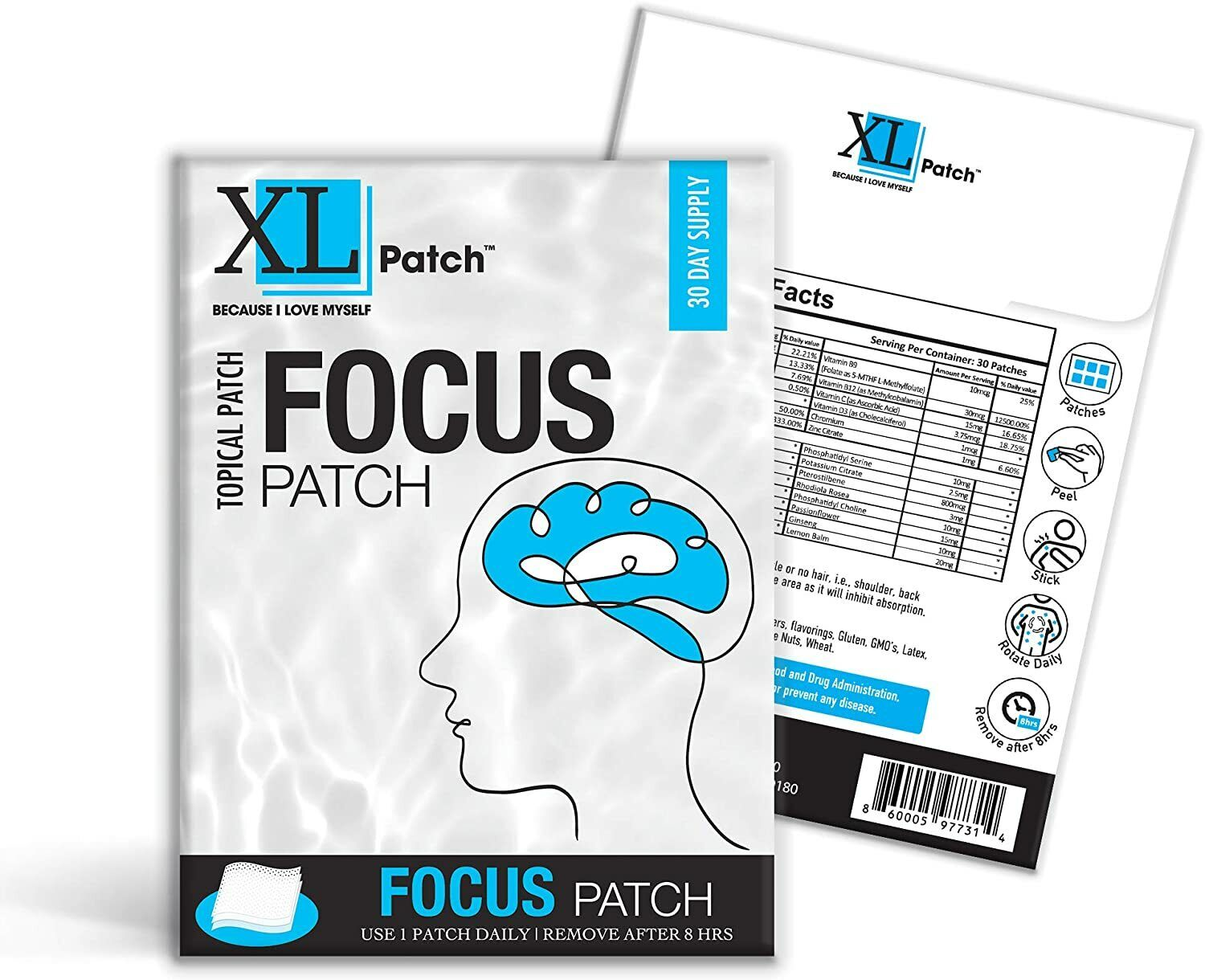 XLPatch Focus Patch Topical Patch - Improves Memory and Enhances Focus - 30 Day 1