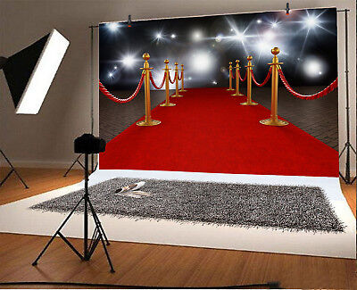 7x5ft Red Carpet Rope Barriers Spotlights Light Backdrop Studio Photo Background - Red Carpet Ropes