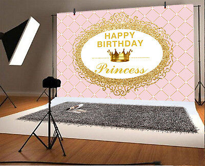 Pink Lattice Gold Crown Princess Birthday Backgrounds 7x5ft Photography Backdrop - Princess Background