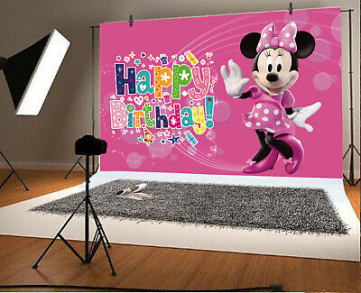 Minnie Mouse Girls Birthday Party Vinyl Photography Backdrop Kids Photo Studio](Minnie Mouse Birthday Backdrop)