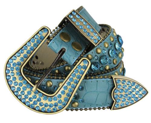 "Rhinestone Western Cowgirl Bling Studded Design Leather Belt 1-1/2""(38mm), Teal"